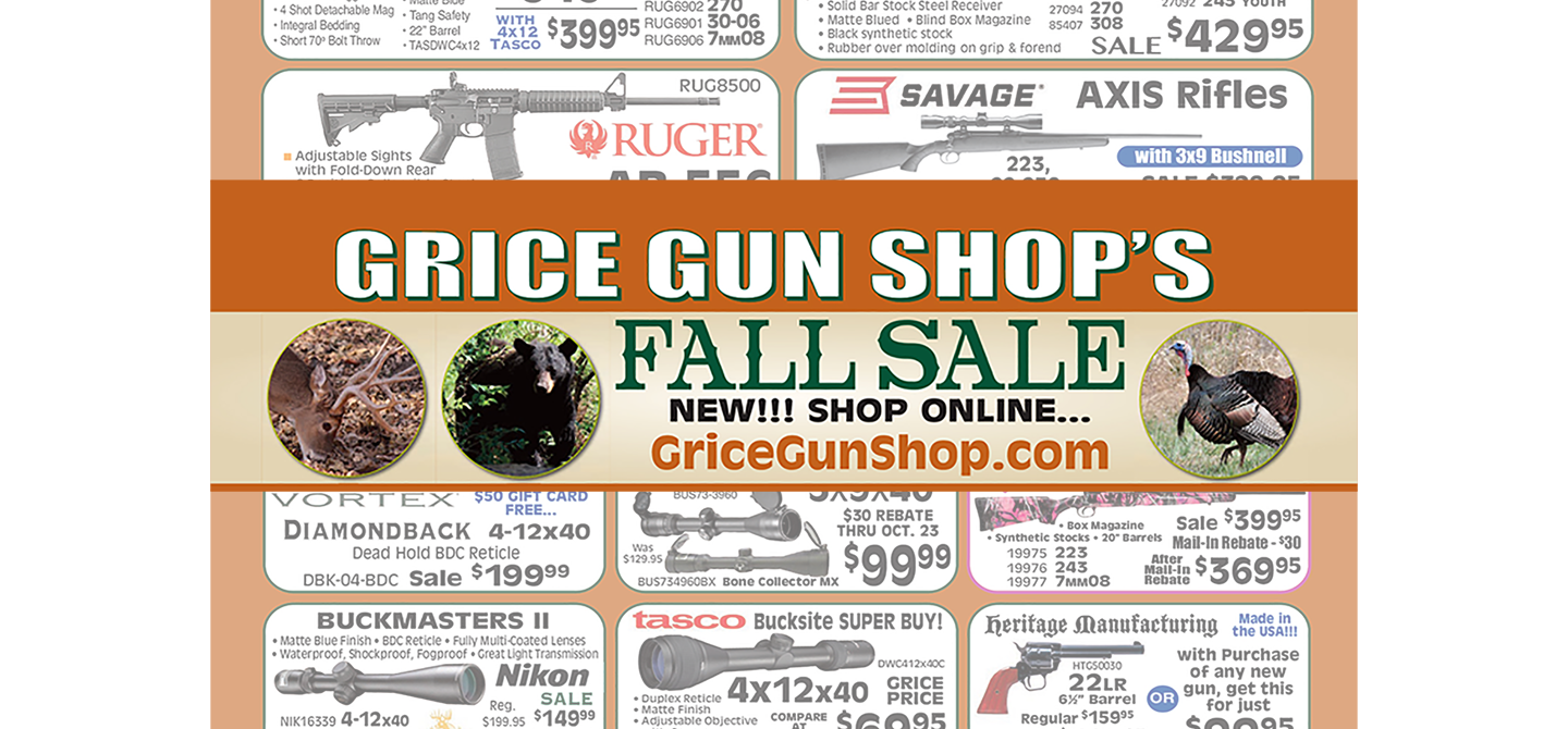 2016 Grice Gun Shop Fall Flyer